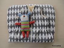 Textil - Ovčie rúno Detský spací vak na zimu 100% MERINO TOP super wash Graphic Grace Black and White - 8729118_