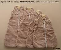 Textil - Ovčie rúno Detský spací vak na zimu 100% MERINO TOP super wash BODKA béžová S/M/L/XL/XXL/XS - 8729355_