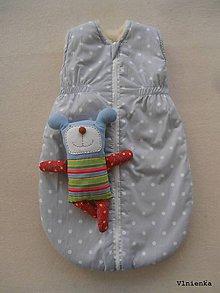 Textil - Spací vak pre deti a bábätká ZIMNÝ 100% MERINO na mieru BODKA sivá - 8729726_