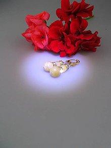 Náušnice - kalcit náušnice strieborné Ag925/1000, patenty pozlátené 24 karátovým zlatom - 8728772_