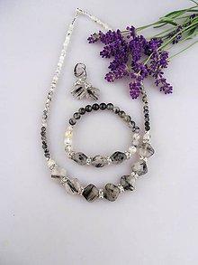 Sady šperkov - Turmalín-skoryl súprava náhrdelník, náramok, náušnice - 8729060_