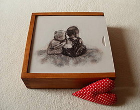 Krabičky - Drevená krabička na fotky a USB kľúč - 8726260_