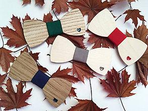 Doplnky - Pánsky drevený motýlik a .naušky pre dámy - jesenná kolekcia - 8729755_