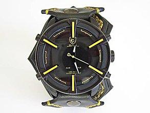 0e9135c87 Náramky - Štýlové pánske kožené hodinky čierno-žlté - 8728704_