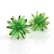 Náušnice - Ježko zelený s medeným pokovom, AG925 (Zelená) - 8724769_