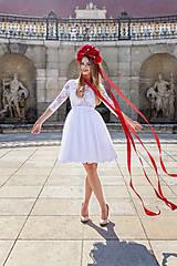 Šaty - Krátke tylové svadobné šaty s trištvrťovým rukávom - 8727890_