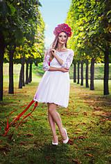 Šaty - Krátke tylové svadobné šaty s trištvrťovým rukávom - 8727905_