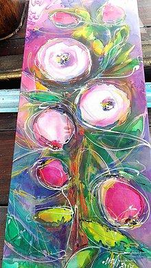 Obrazy - Kytička pestrofarebná... maľba na hodváb - 8725990_