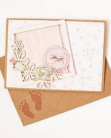 Papiernictvo - Pohľadnica k narodeniu dievčatka - 8726962_