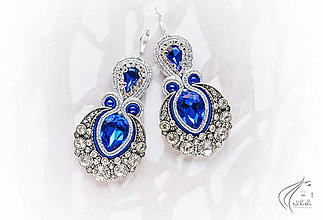 Náušnice - Crystal Paradise /Ag 925 (červená verzia) (Modrá) - 8727277_