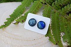 Náušnice - Strieborno-modré nebo - dichroické sklenené náušničky - 8726687_