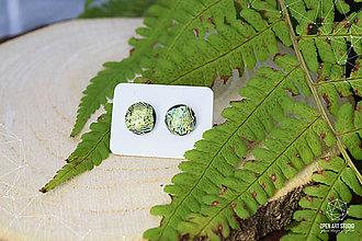 Náušnice - Zlato-zelené dichroic náušničky II. - 8726700_