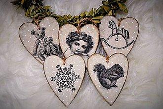 Dekorácie - Vintage vianočné srdiečka - 8724760_