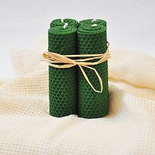 Svietidlá a sviečky - adventné voskové sviečky zelené 4ks - 8734571_