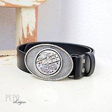 Opasky - Černý kožený steampunkový opasek stříbrná spona - 8733951_