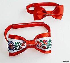 Doplnky - pánsky motýlik - červený folklor - 8732038_