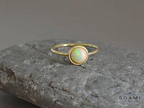 Prstene - 14k zlatý prsteň s prírodným Etiopským opálom - 8731224_