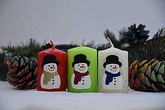 Svietidlá a sviečky - sviečka snehuliačik - 8731993_