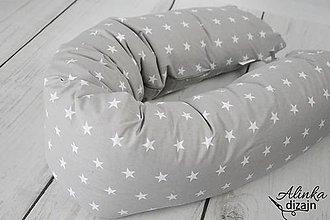 Textil - Tehotenský vankúš / Vankúš na dojčenie sivý s hviezdičkami - 8731928_