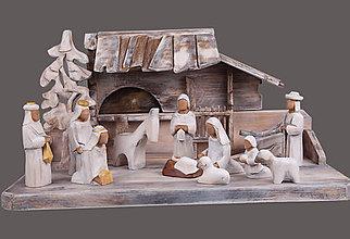 Socha - Drevený vyrezávaný betlehem 6 - 8730738_