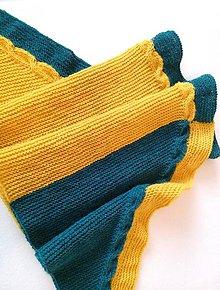 Šatky - Šatka horčicovo žltá s petrolejovo modrou - 8733798_