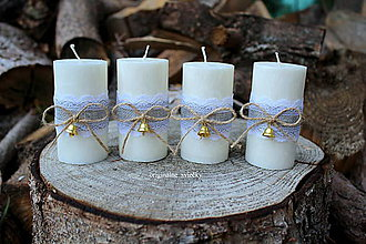 Svietidlá a sviečky - Adventné sviečky so zvončekmi - 8731534_