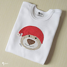 Detské oblečenie - body VIANOČNÝ MACKO (dlhý/krátky rukáv) - 8733242_