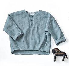 Detské oblečenie - Ľanová tunika dymovo zelená - 8731581_