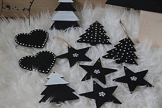 Dekorácie - Vianočné ozdoby - čierno,biele - 8732778_