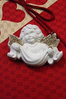 Magnetky - Anjelik strieborno-zlatý č.3 magnetka - 8733667_