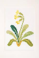 """Papiernictvo - Vyšívaná kvetinová pohľadnica """"Prvosienka jarná"""" - 8732699_"""