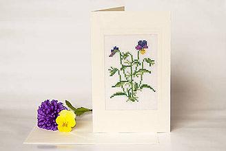 """Papiernictvo - Vyšívaná kvetinová pohľadnica """"Fialky"""" - 8732685_"""