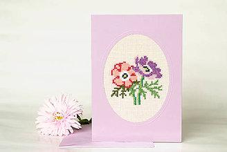 """Papiernictvo - Vyšívaná kvetinová pohľadnica """"Anemónky"""" - 8732772_"""