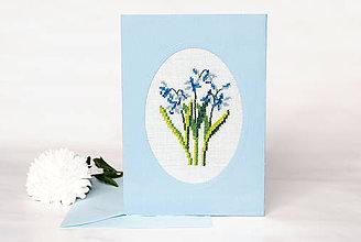 """Papiernictvo - Vyšívaná kvetinová pohľadnica """"Nezábudky"""" - 8732793_"""