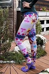 Nohavice - Farebné elastické legíny s motívom autorského obrazu: Ballet schoes - 8734069_
