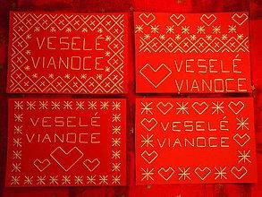 Drobnosti - Vyšívaná pohľadnica červená Čičmany - Veselé Vianoce - 8731749_