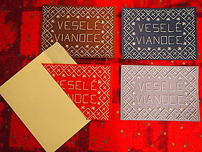 Drobnosti - Vyšívaná pohľadnica Čičmany - Veselé Vianoce - 8731961_