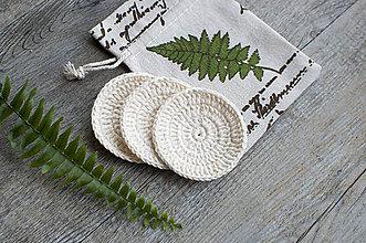Drobnosti - ZERO WASTE béžové háčkované tampóny z BIO bavlny (3 ks + vrecúško) - 8730033_