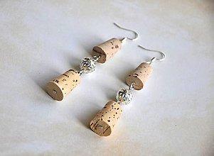 Náušnice - korkové so striebornou korálkou - 8730631_