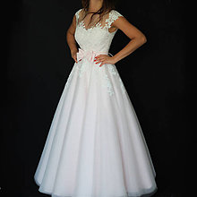 Šaty - Svetloružové svadobné šaty s tylovou sukňou rôzne farby - 8731098_