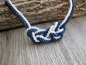 Náhrdelníky - Uzlový náhrdelník z dvoch šnúr (Uzlový náhrdelník modro biely, č. 1558) - 8730335_
