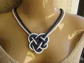 Náhrdelníky - Uzlový náhrdelník (námornícky modro biely č.1417) - 8730360_