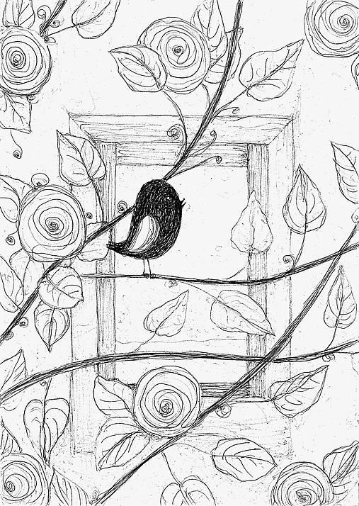 Vtáčik, kresba