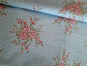Textil - Ruže na modrej - 8731177_