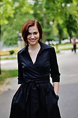 Šaty - Zavinovací šaty MONA, černá (Vel 18/19, pro výšku 160 cm) - 8736453_