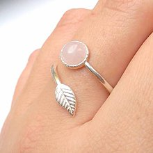 Prstene - Simple Leaf Silver Gemstone Ring / Prsteň s minerálom - 8738150_