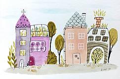 - Domy pohľadnica ilustrácia / originál maľba - 8736619_