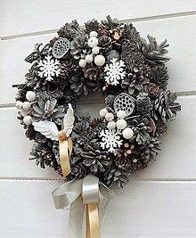 Dekorácie - Vianočný veniec (šedá-biela-ružová) - 8736216_