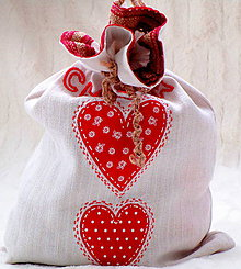 Úžitkový textil - vrecúško na chlebík-červené - 8738304_