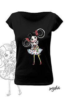 Tričká - Dámske tričko čierne - Anjelka copaňa - 8734984_